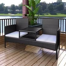 vidaXL Outdoor Bench 2-Seater Poly Rattan Wicker Black Garden Chairs Fur... - $189.99