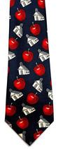 Back To School Mens Neck Tie Teacher Blue Necktie Red Apple Education Gi... - $12.52