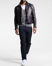 Men Distressed Grape Leather Jacket Coat For Men - $150.00
