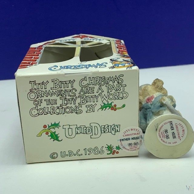 Itty Bitty Christmas ornament united design mouse mice critter 1986 Father dad
