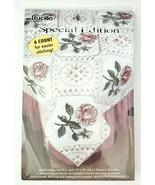 Bucilla Special Edition 64841 Rose Quilt Block Stamped Cross Stitch Vint... - $28.45