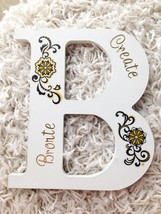 "Altered Wall Art - White Wood ""B"" Letter Initial Create Bronte Gold Blac... - $8.99"