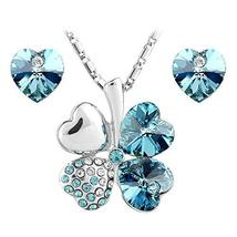 SHIP BY USPS: Jewelry Set Clover Pendant Necklace+Stud Earring Heart Sha... - $49.95