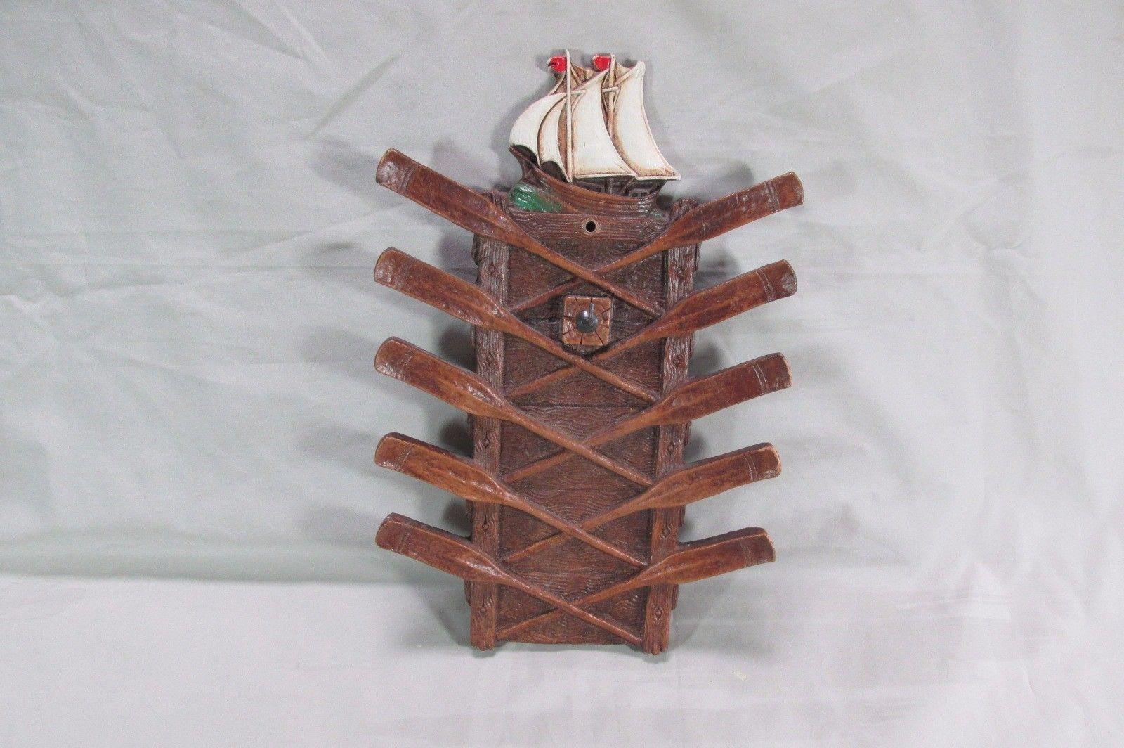 Very Nice Syroco Wood Nautical Wall Hanging Neck Tie Holder, Schooner, Oars