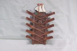 Very Nice Syroco Wood Nautical Wall Hanging Neck Tie Holder, Schooner, Oars - $17.75