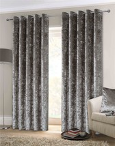 """CRUSHED VELVET SILVER LINED ANNEAU TOP WOVEN CURTAINS 66"""" X 90"""" 18"""" CUSHION - $70.09"""