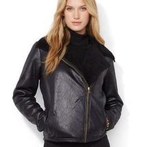 NWT Ralph Lauren Womens Petite Small Black Faux Shearling Motorcycle Jacket - $99.99