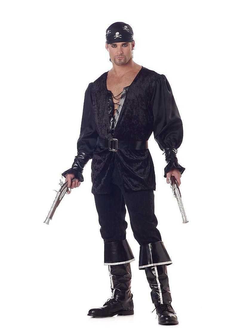 Noir Hommes Adultes Coeur le Pirate Méchant Matelot Océan Déguisement Halloween