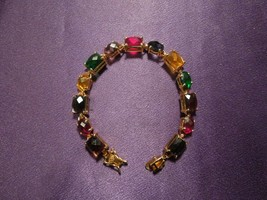 Joan Rivers Colorful Multiple Rhinestone Link Bracelet - $24.75