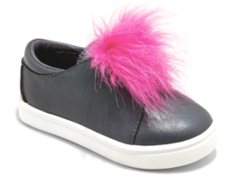 Cat & Jack Bambine Vella Nero Finto Rosa Pelliccia Basso Top Slip On Sneakers