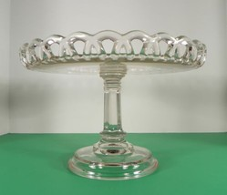 """Crocheted Skirt LACY EDGE Clear Round Pedestal Cake Plate Stand 10-5/8"""" - $48.46"""