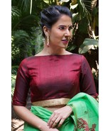Maroon  raw silk boat neck blouse | Ready made Indian Saree Blouse - $35.99