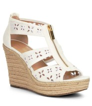 Women MICHAEL Michael Kors Damita Floral Wedge Sandals, White Size 9 Canvas - $99.95
