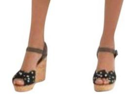 $908 Dolce Gabbana Polka Dot Knot Cork Wedge Sandal 38.5 Black + White - $340.00
