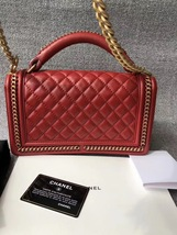 AUTHENTIC CHANEL RED QUILTED CALFSKIN 2 WAY TOP HANDLE BOY FLAP BAG RECEIPT  image 2