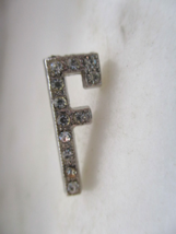 "Vintage Silver Tone & White Rhinestone Initial or Letter ""F"" Tac Pin - L... - $5.00"