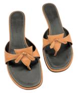 "COLE HAAN City Sandal Slide On Burnt Orange & Black Shoe 2"" Heel Women's... - $56.07"