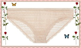 XLarge XL Light Beige Nude  All Over Lace Nylon Victorias Secret BIKINI ... - $10.99