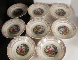 Cronin China Colonial Courting Couple Soup Salad Bowl (s) LOT OF 8 - $24.70