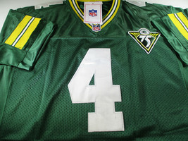 BRETT FAVRE / HALL OF FAME / AUTOGRAPHED PACKERS THROWBACK JERSEY / FAVRE HOLO image 2