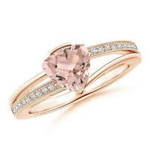 Split Shank 6mm Solitaire Trillion 0.99ct Best AAA Morganite Ring Gold/P... - $1,110.44+