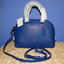 Coach Mini Sierra Crossgrain Leather Satchel SV/Mineral Blue