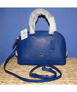 Coach Mini Sierra Crossgrain Leather Satchel SV/Mineral Blue - $144.00