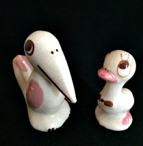 Vintage Comic Bird Miniatures Two Pottery Figurines Shawnee McCoy - $22.76