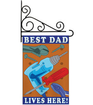 Best Dad - Applique Decorative Metal Fansy Wall Bracket Garden Flag Set ... - $29.97