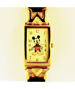 Mickey Disney Seiko Pulsar Lady Watch Cuff Tip Gold M's, Black Leather B... - $97.86