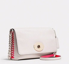 Coach Crosstown Pop Lacing Whiplash White Pink Leather Crossbody Bag New... - $195.00