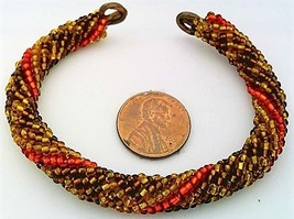 Autumn Colors Bead Crochet Rope On Copper Bracelet 1 - $27.19