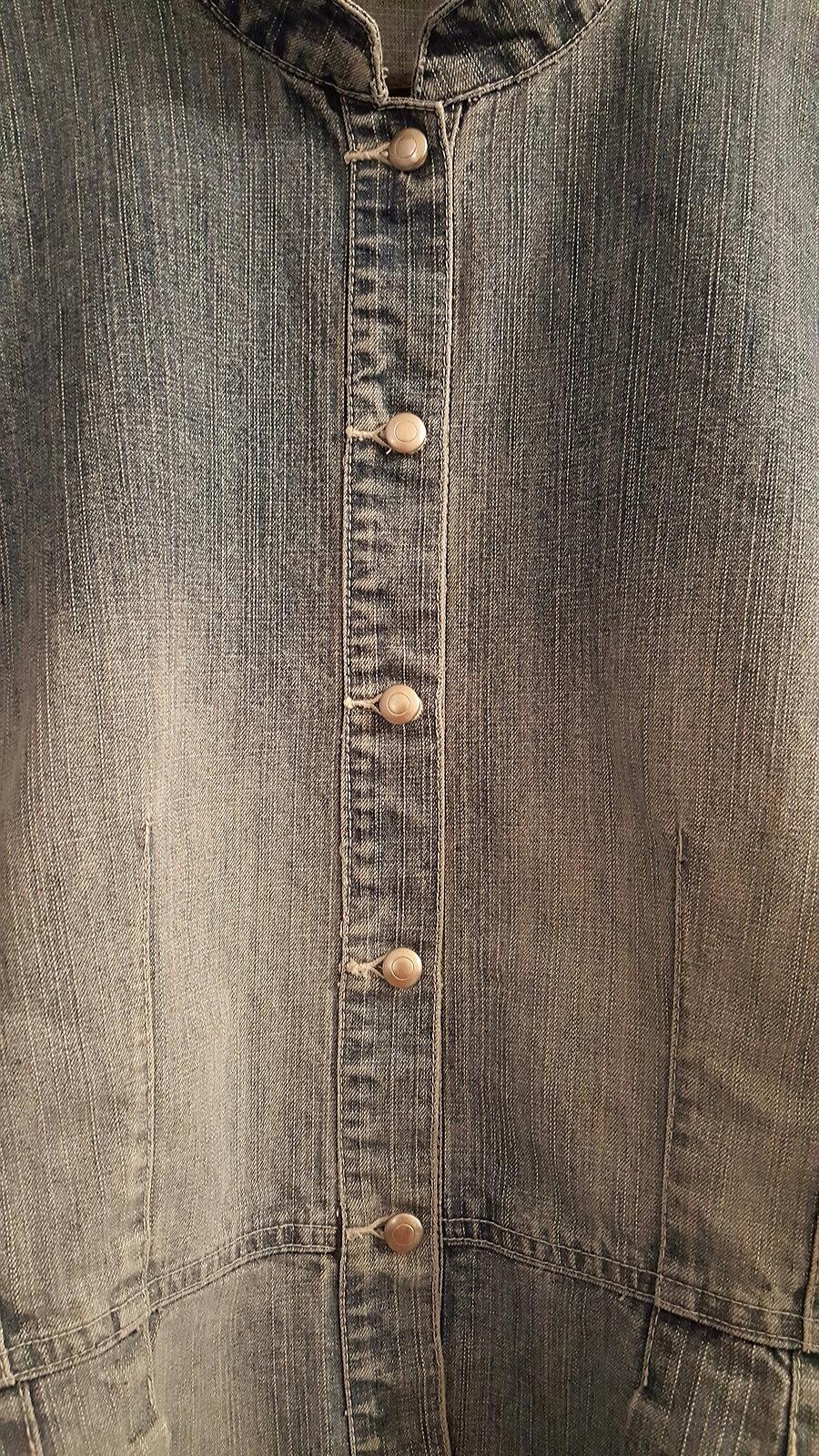 Crossing Pointe Indigo Denim Button Down Peplum Jacket  Large