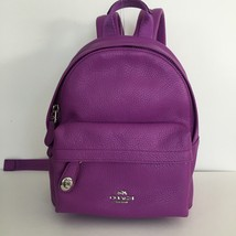 New Coach 37590 Mini Campus Backpack In Pebble Leather Orchard Pink Purp... - $169.99