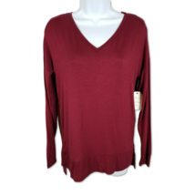 Hippie Rose Cozy Tee Long Sleeve Tunic Top V-Neck Dixie Garnet Red Size L - $15.88