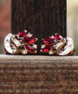 Vintage Crown Trifari Red Marquis and Baguette Rhinestone Clip Earrings ... - $125.00