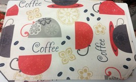"""Set Of 2 Fabric Linen Placemats 12"""" X 18"""", Coffee Cups & B EAN S By Bh - $10.88"""
