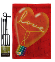 Love Light Bulb Burlap - Impressions Decorative Metal Garden Pole Flag Set GS101 - $33.97