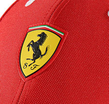 Puma Ferrari Red Logo Hat Rosso Corsa Wide Brim Strap Back Baseball Cap image 3