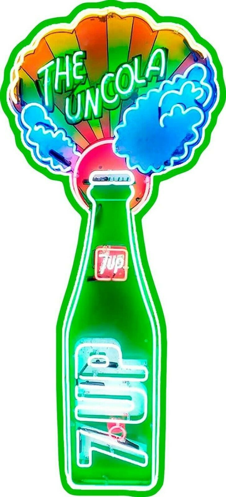 The Uncola 7 UP Neon Style Metal Sign, Vintage Inspired Advertisement - $59.95