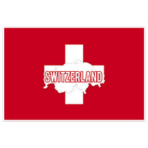 Switzerland Flag With Country Text Wall Art Poster - $18.32