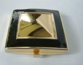Estee Lauder Art Deco Black Enamel Gold Square Lucidity Powder Compact w/ prod - $29.69