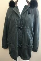 Ladies S M L Lamb Leather Coat Soft Gray Lined Hooded EXPRESS Avenue de ... - $197.99