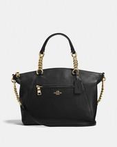 COACH Prairie Pebbled Leather Chain Satchel Purse 59501 Black/Light Gold - ₹12,107.97 INR