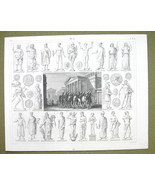 ROMAN Gods Cults  Mythology Janus Opis Idols Gods - 1844 SUPERB Engravin... - $16.84