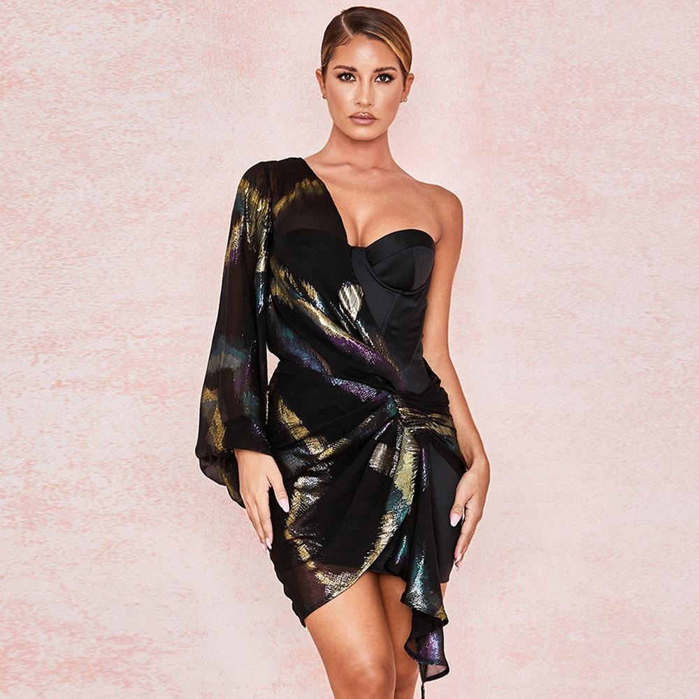 Ady bodycon dress winter 2019 one shoulder glitter dress women mini sexy strapless bodycon dress