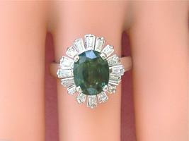 VINTAGE 1ctw BAGUETTE DIAMOND 2.4ct GREEN TOURMALINE BALLERINA COCKTAIL ... - $2,272.05
