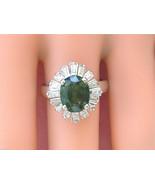 VINTAGE 1ctw BAGUETTE DIAMOND 2.4ct GREEN TOURMALINE BALLERINA COCKTAIL ... - £1,737.59 GBP