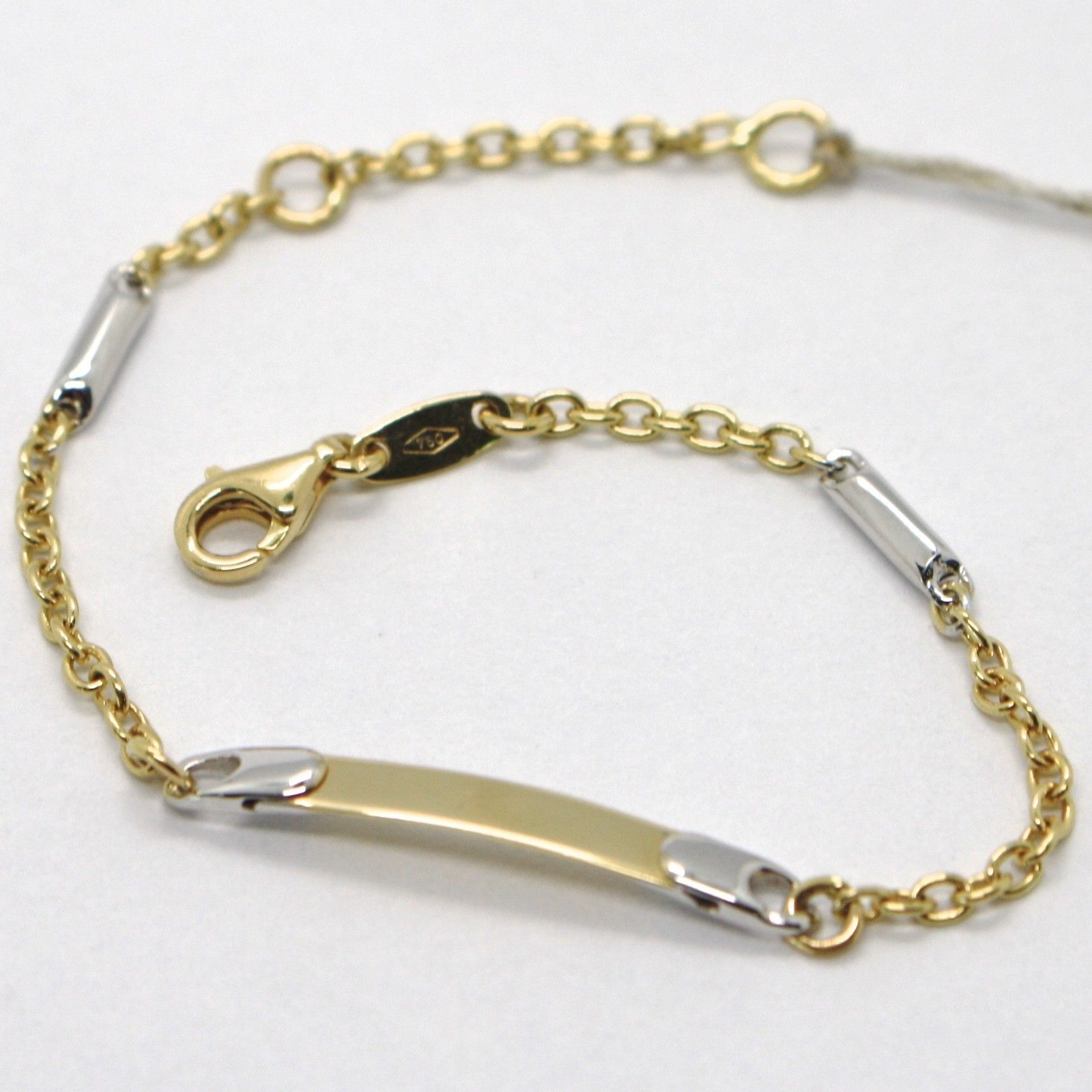18K WHITE YELLOW GOLD KIDS BRACELET ENGRAVED PLATE ALTERNATE TUBE & ROLO LINK