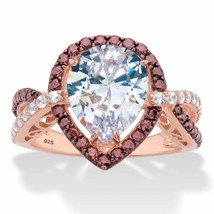 4.37 TCW 18k Rose Gold over Sterling Silver Brown and White CZ Engagemen... - $49.99